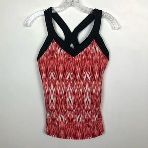 Lucy Coral Ikat Crossback Workout Tank Small